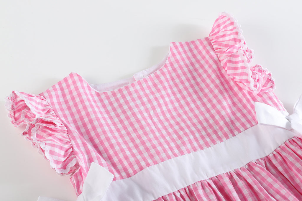 Light Pink Gingham A-Line Dress