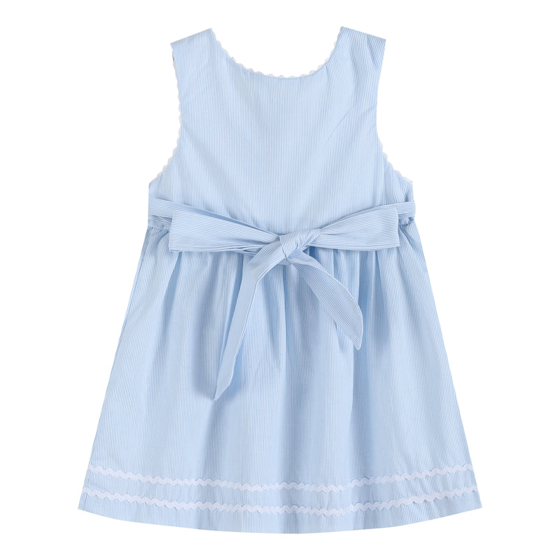 Light Blue Seersucker A-Line Dress