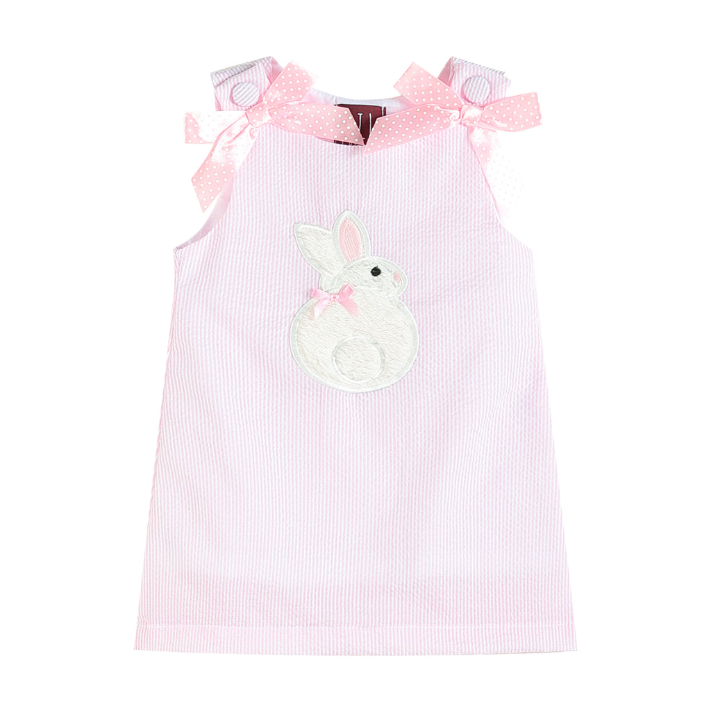 Pink Seersucker Fuzzy Bunny Applique Swing Dress