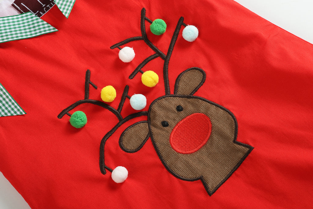 Red Reindeer with PomPoms and Bows Swing Dress
