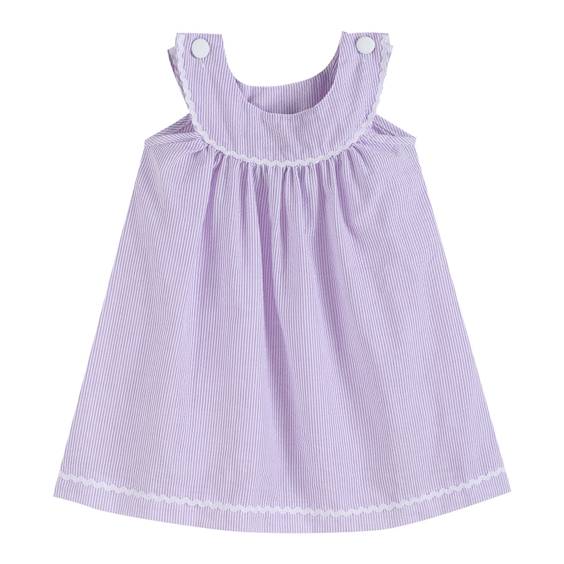 Light Purple Seersucker Yoke Dress