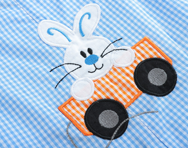 Blue and Orange Gingham Bunny Wagon Short Pant Romper