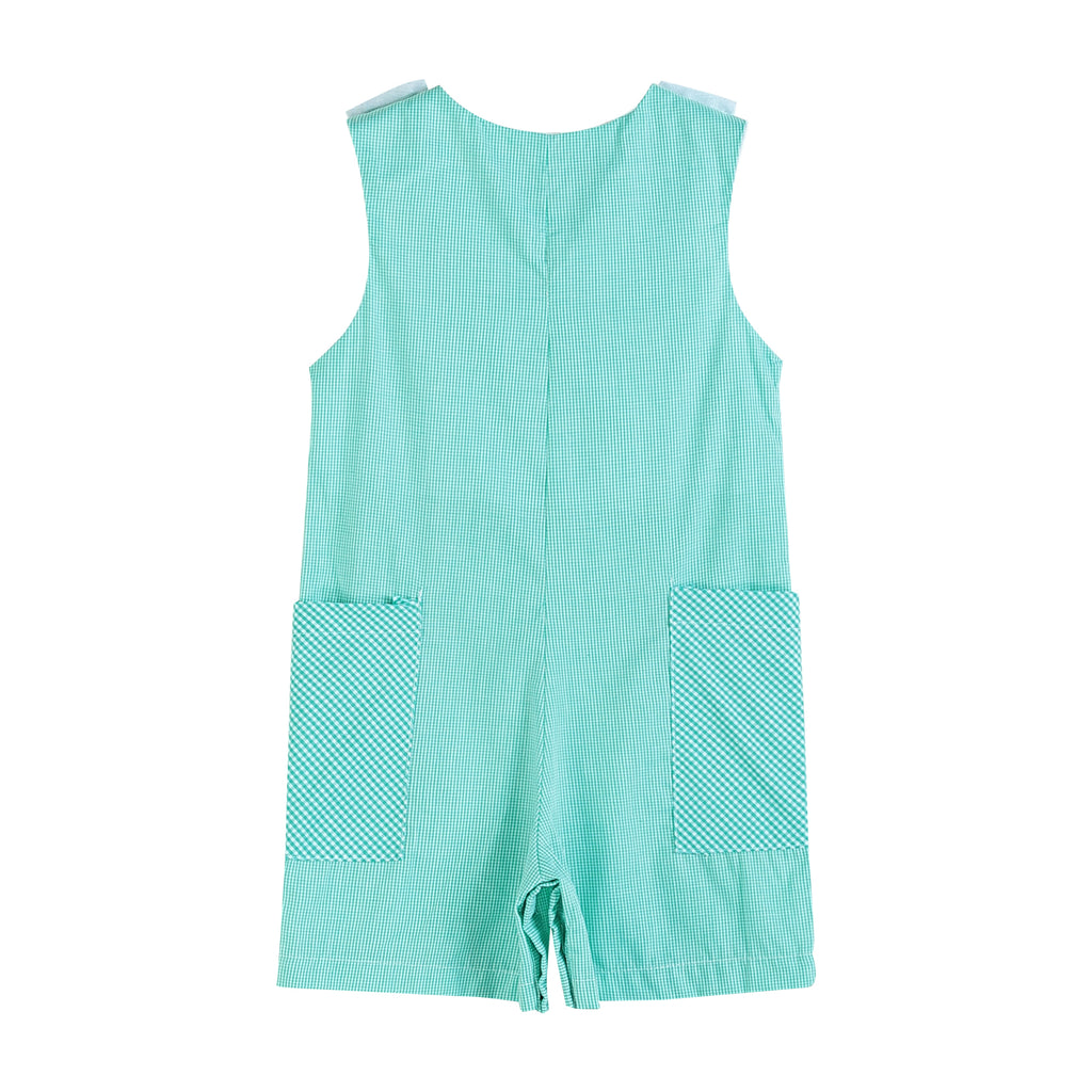 Turquoise Gingham Fuzzy Bunny Short Pant Romper
