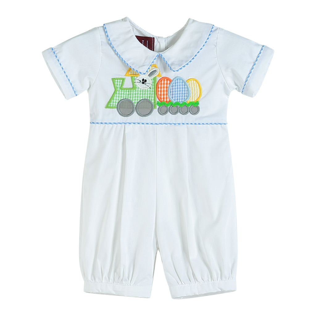 White Bunny Train and Eggs Romper