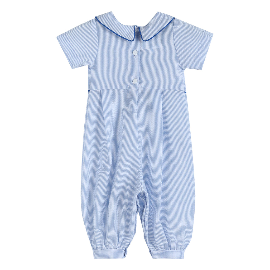 Blue Seersucker Anchor Collared Romper