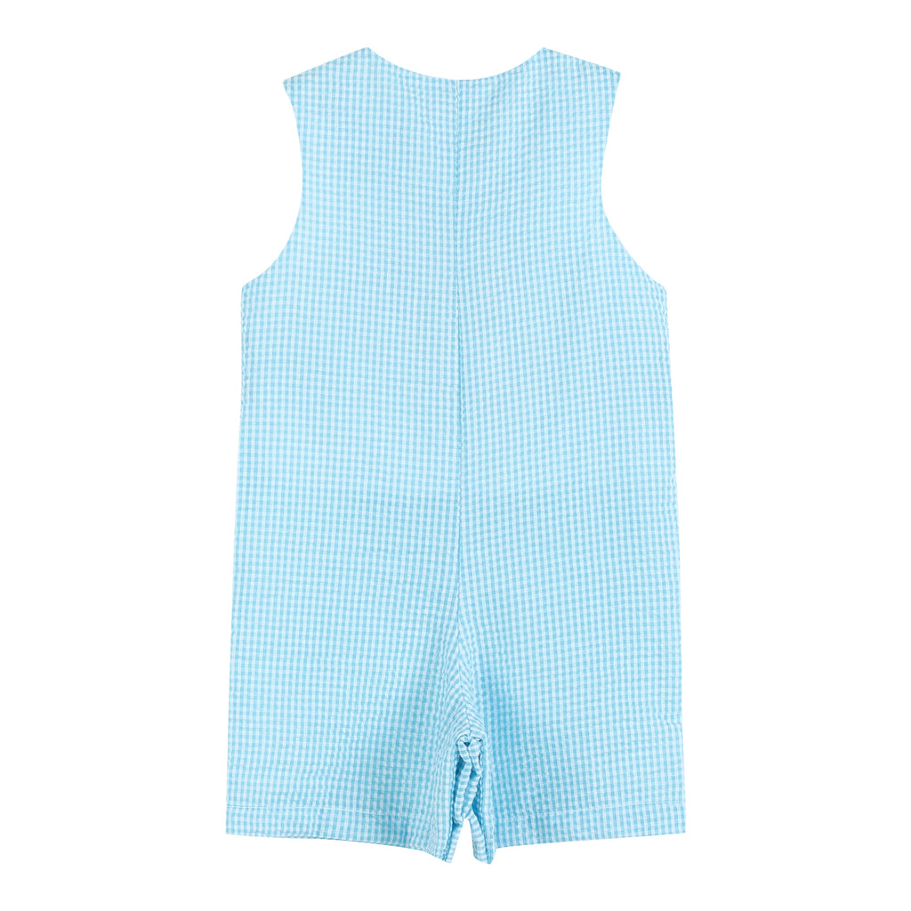 Blue Gingham Dinosaur Shortalls