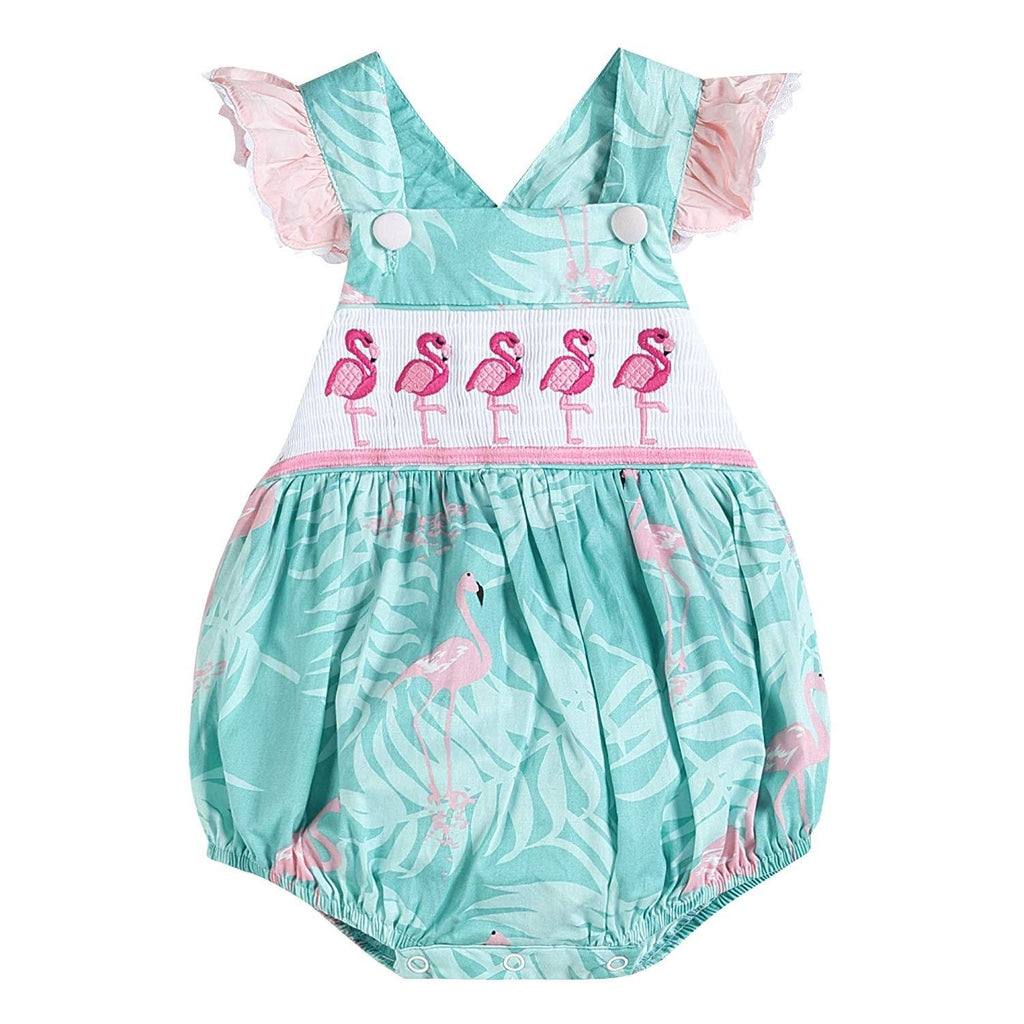 Girls Flamingo Smocked Ruffle Bubble Romper