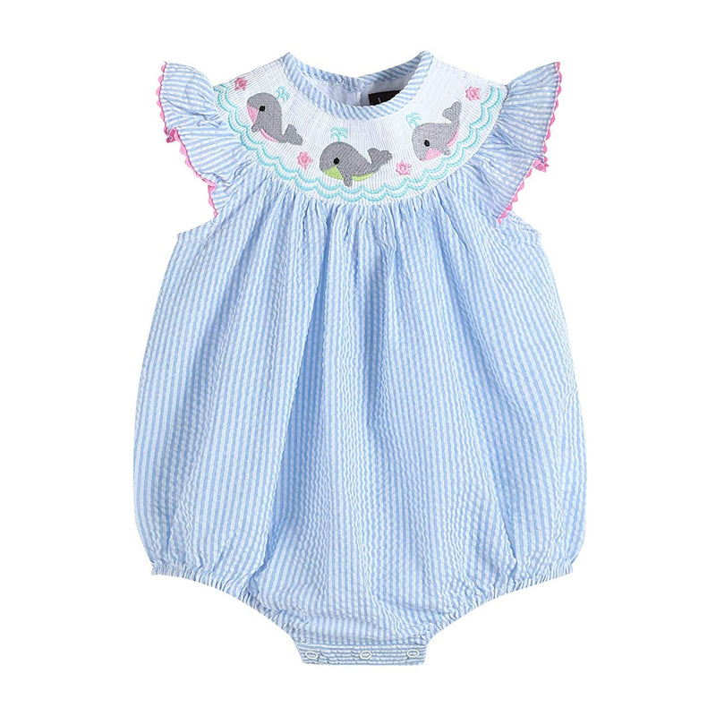 Lil Cactus Baby & Toddler Girls Smocked Flutter Sleeve One Piece Bubble Romper