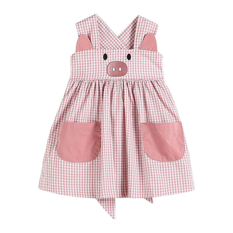 Girls Pink Little Pig Sleeveless Dress with Pockets