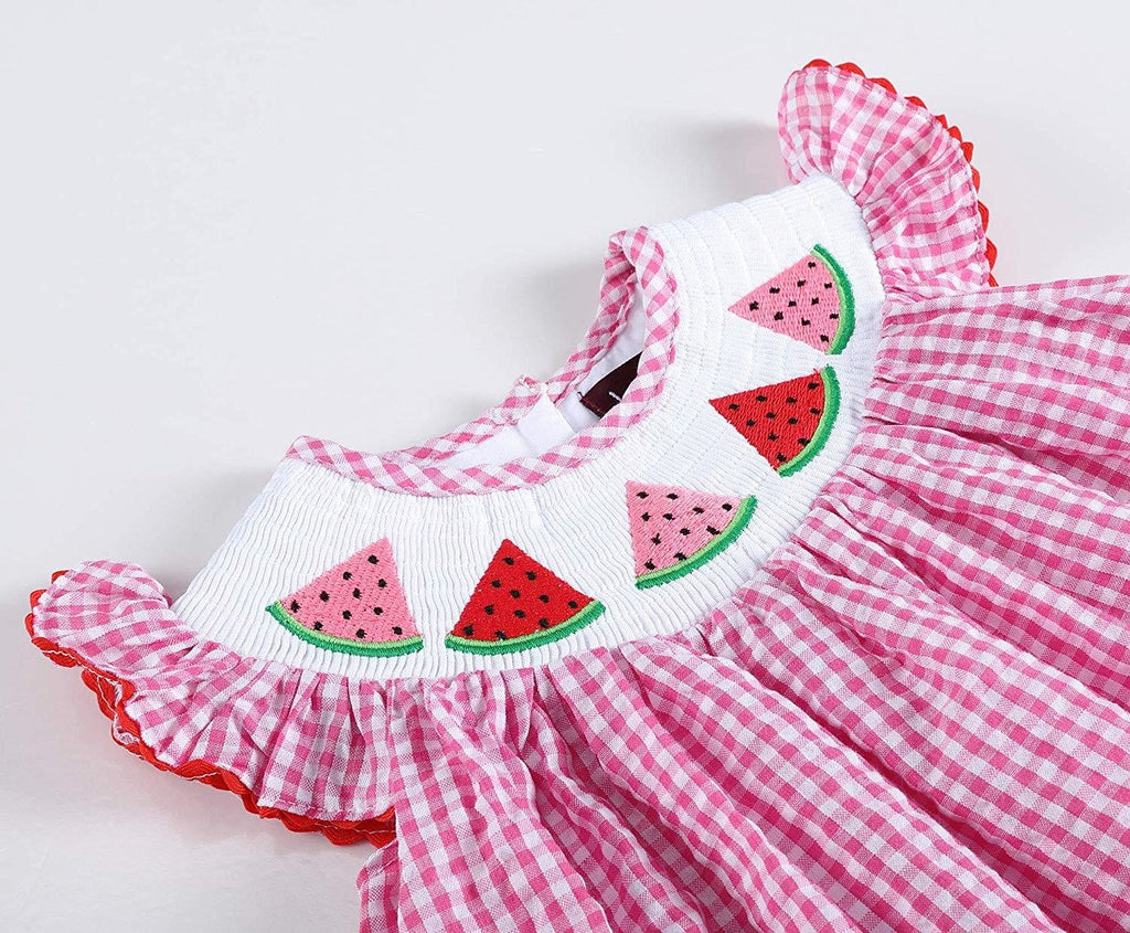 Pink Gingham Watermelon Smocked Bishop Dress
