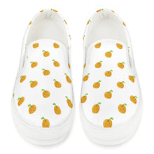 Load image into Gallery viewer, Orange Cartoon Drawing Pattern Design White Slip On Shoes