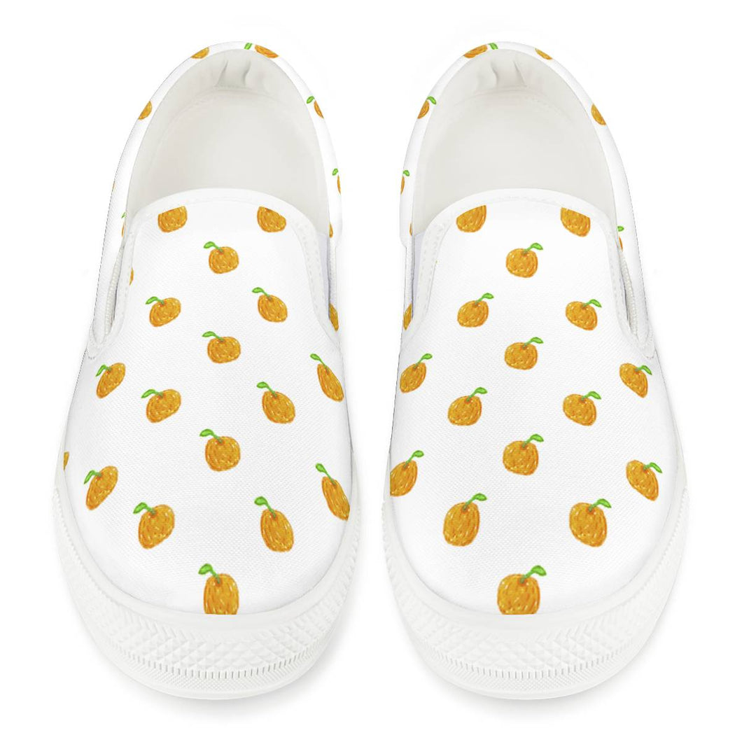 Orange Cartoon Drawing Pattern Design White Slip On Shoes