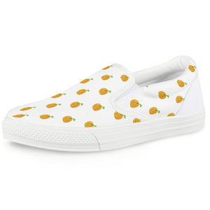 Orange Cartoon -  Drawing Pattern Design White Slip On Shoes