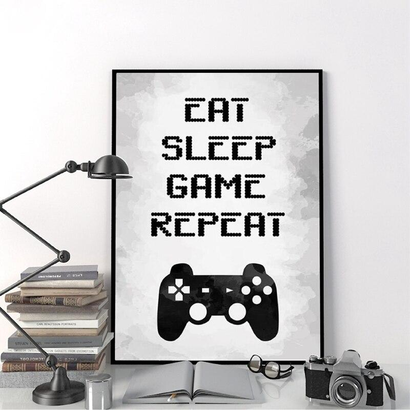 "Poster gaming ""Eat, sleep, game, repeat"""