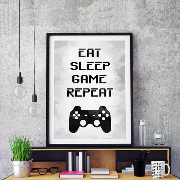 "Poster gaming ""Eat, sleep, game, repeat"" - Melty Stores"