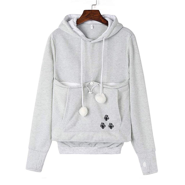 Hoodie porte animaux gris