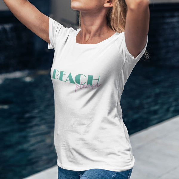 t-shirt beach please blanc femme