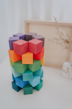 Load image into Gallery viewer, Rainbow Cube Blocks with Tray