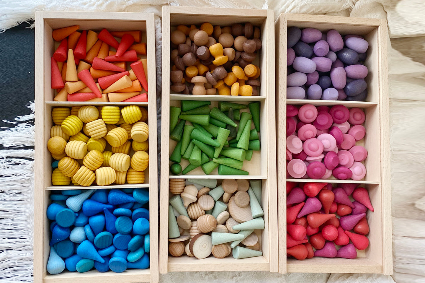 *PREORDER* Coloured Loose Parts Set with Stackable Trays