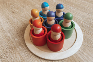 Rainbow Peg Doll with Sorting Cups & Tray