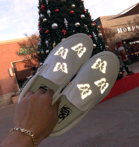"""Reflective Butterfly"" Slip-on Vans"