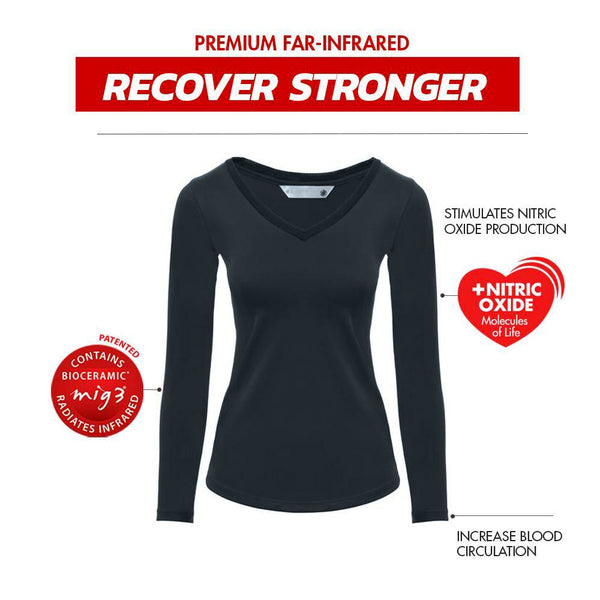 Invel® Therapeutic Recover V Neck Women's Long Sleeve Shirt with Bioceramic MIG3® Far-Infrared Technology invel far-infrared