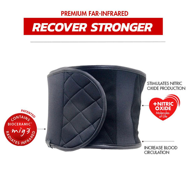 Invel Therapeutic Recovery Abs Support - BELT LOWER BACK SPORT - (NEOPRENE) with Bioceramic MIG3 Far-Infrared Technology invel far-infrared