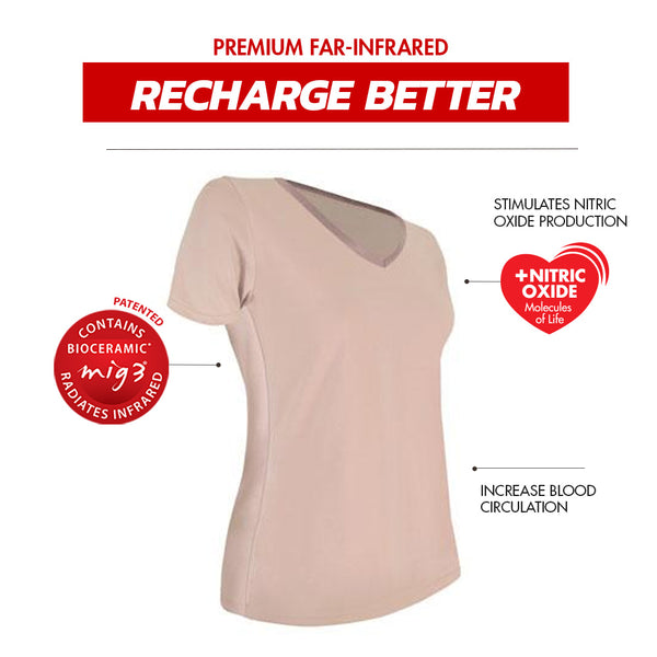 Invel® Therapeutic Recharge Women's Sleepwear Shirt with Bioceramic MIG3® Far-Infrared Technology invel far-infrared