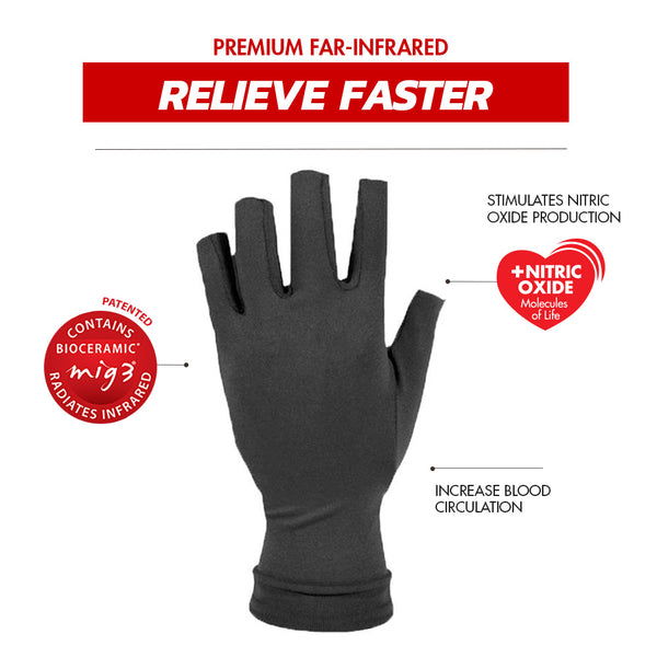 Invel® Therapeutic Relief Finger OTI Gloves with Bioceramic MIG3® Far-Infrared Technology invel far-infrared