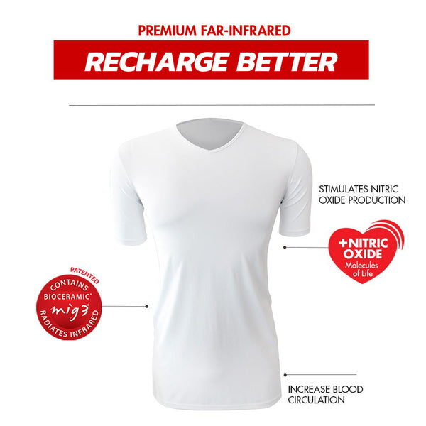 Invel Therapeutic Recovery Men's V-Neck Shirt with Bioceramic MIG3 Far-Infrared Technology invel far-infrared