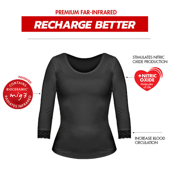 Invel® Therapeutic Recharge Lace Women's 3/4 Sleeve Shirt with Bioceramic MIG3® Far-Infrared Technology invel far-infrared