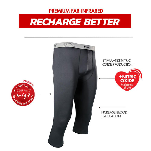 Invel® Therapeutic Men's Inner Fit 3/4 Legging with Bioceramic MIG3® Far-Infrared Technology invel far-infrared