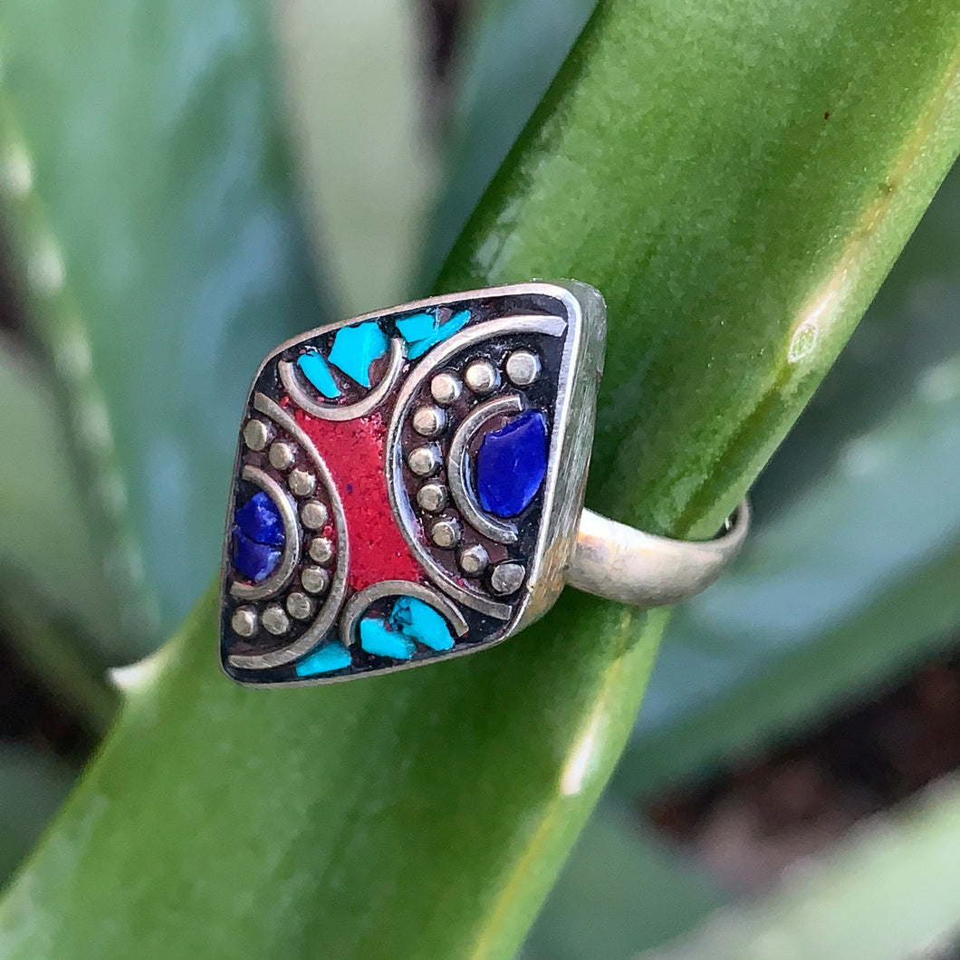 Ring-Berber Silver with Tri-Colored Stones