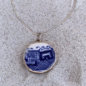 Sterling and Porcelain Pendant