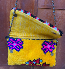 Load image into Gallery viewer, Vintage Rug Purse- Daring Yellow