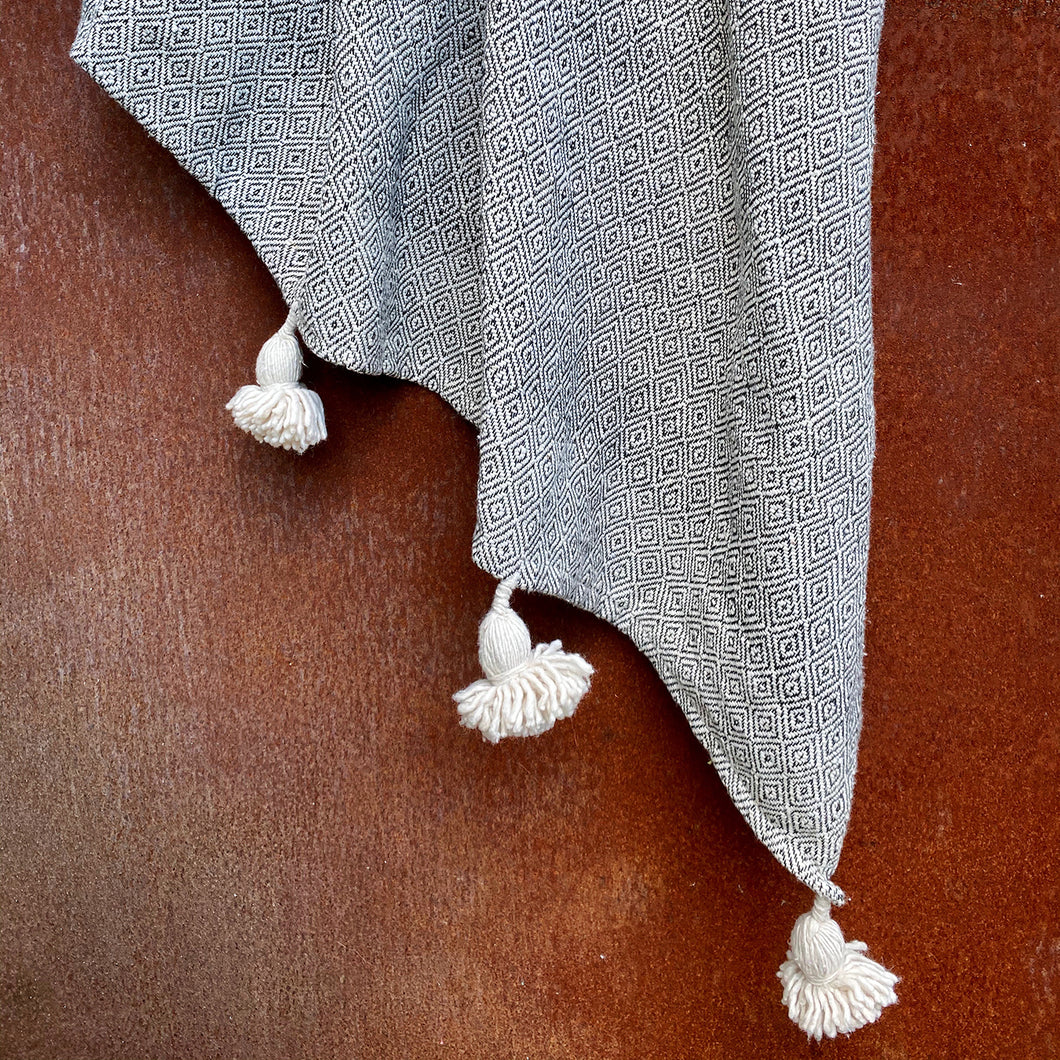 Moroccan Blanket with Pom Poms