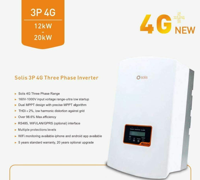 Solis on grid Solar Inverter 12kW 4G 3 Phase Dual MPPT DC - I.T.S Technologies