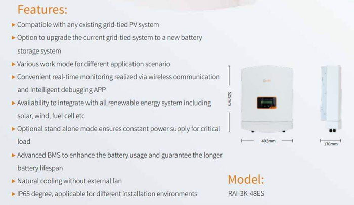 Solis 3.0kW 5G RAI Energy Storage AC Coupled battery charger / inverter - I.T.S Technologies