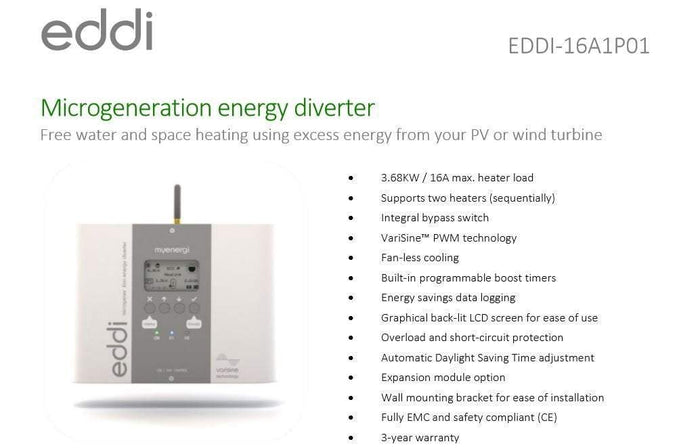 Myenergi EDDI Energy Diverter Diverts surplus solar energy to your hot water - I.T.S Technologies