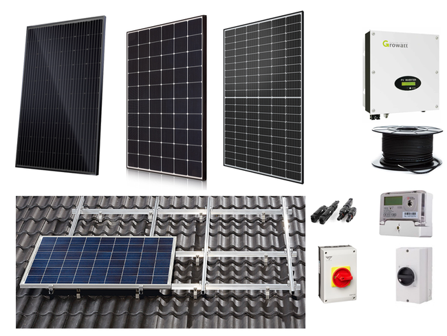 12 X Solar Panel system complete on roof PV kit with choice of panels - LEVEL 4