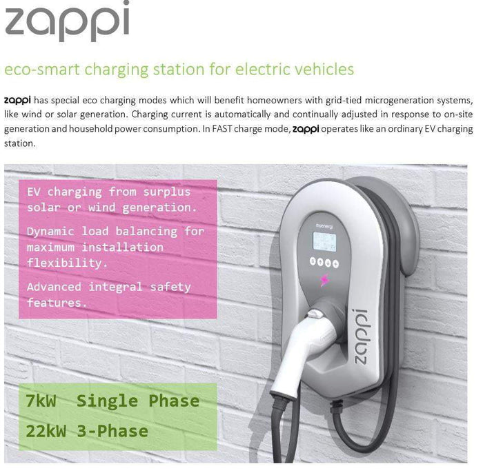 Zappi EV Car charge point V2 - 22kW 3ph - Type 2 Tethered - White Ecosmart - I.T.S Technologies