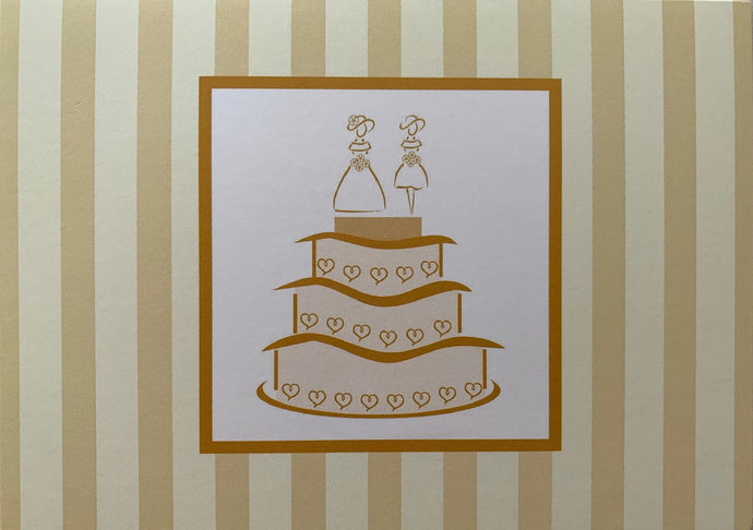 Same Sex Wedding Greeting Card - Golden, Brides on Cake