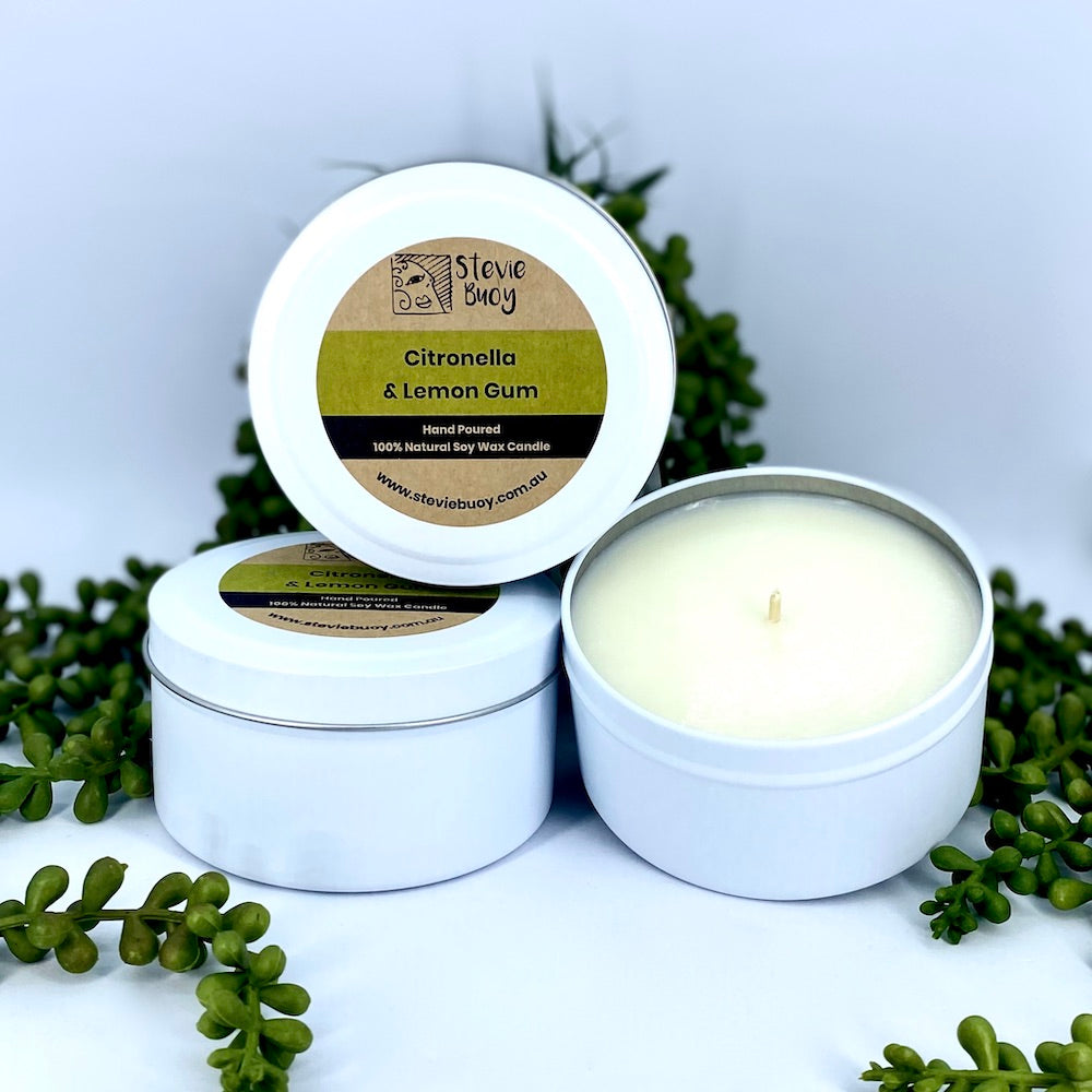 Citronella & Lemon Gum - Tin Candle - White