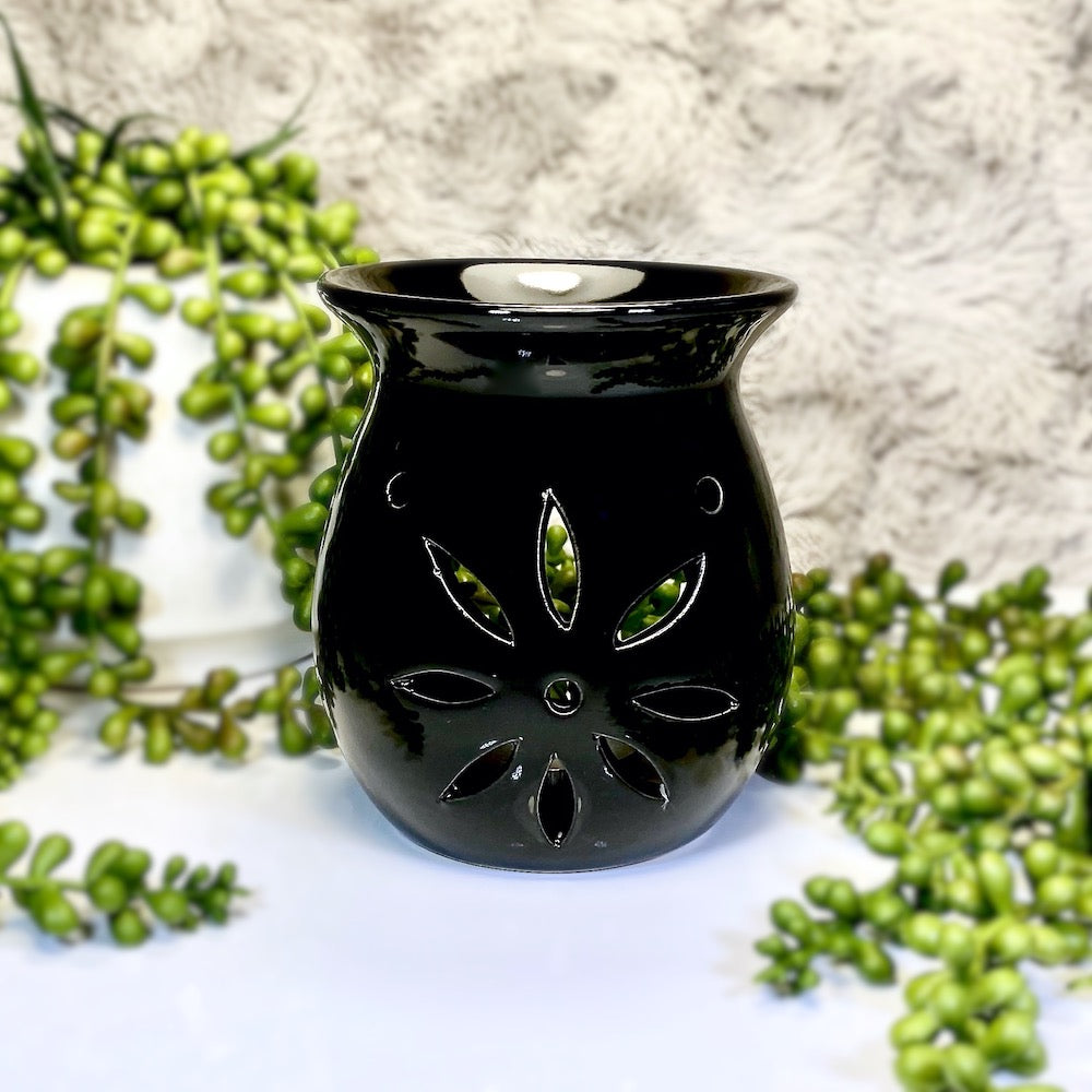 Flower Tea Light Warmer - Black