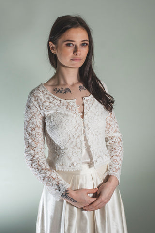 Cotton lace cardigan, bridal cardigan 'Zoe'