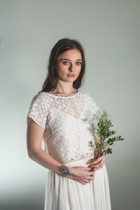 Bridal lace top in off-white cotton lace 'Janey'