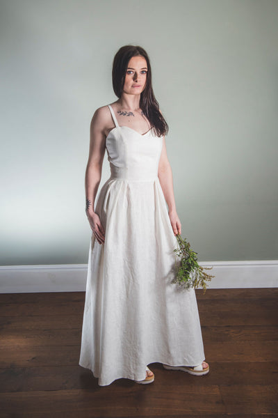 Long Linen Sweetheart Dress
