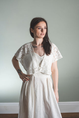 Cotton Lace Bolero, off white shrug in petal lace