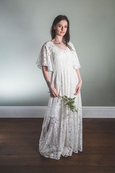 long cotton lace wedding dress, relaxed wedding dress 'Delphine'