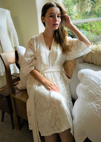 Cotton lace kimono style dressing gown, bridal dressing gown,